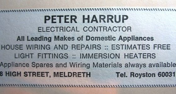 Advert for Peter Harrup Electrical Contractor (no longer trading) | Meldreth W.I.