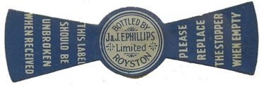 Phillips of Royston Bottle Top Label | Photo courtesy of Royston Museum