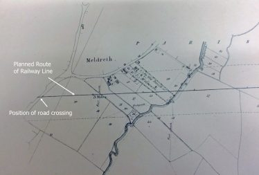 The planned route of the railway line through Meldreth | Parliamentary Archives, HL/PO/PB/3/plan1847/E85. Photographed by Angus Bell.