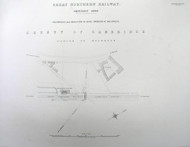 Plan showing the position of the footbridge, the forerunner of the current pedestrian bridge. | Cambridge Record Office