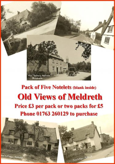 Packs of Notelets showing five views of Old Meldreth priced at £3 per pack or two packs for £5.  Please telephone Joan and Tim Gane on 01763 260129 to order | Tim Gane
