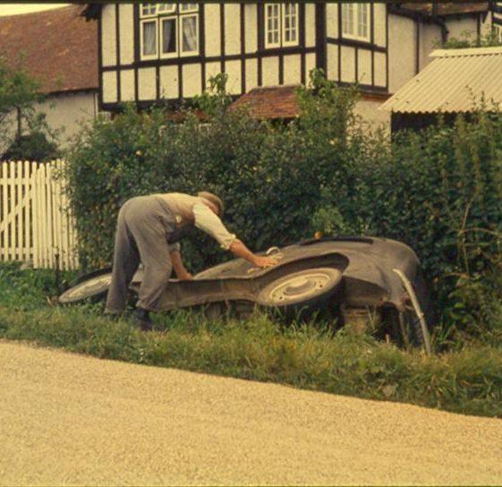 Overturned vehicle outside Mr Pepper's house in Whitecroft Road 1960 - 1970 | Ann Handscombe