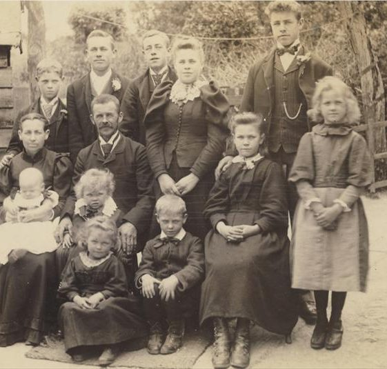 The Pepper Family photographed at Brewery Lane Farm, North End, Meldreth in 1895 | Photograph by Frank Hinkins of Royston and supplied by Brian Pepper