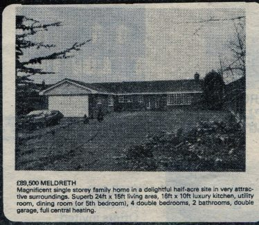 Advert (1984) for the sale of a bungalow built on the orchard originally owned by George Palmer | Unknown local paper