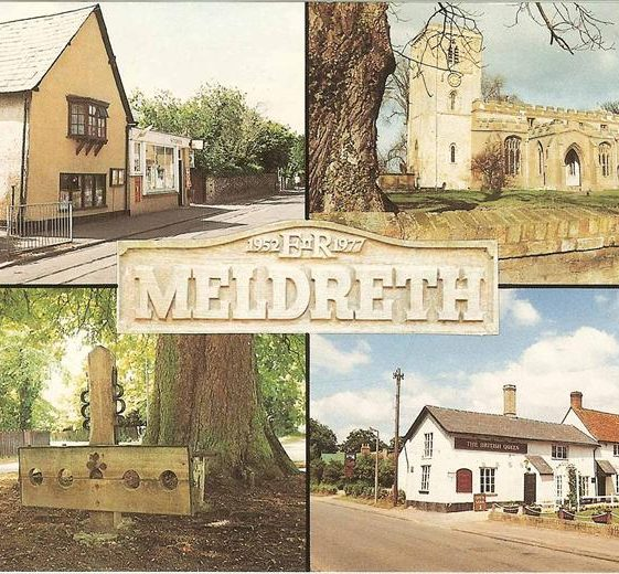 Postcard commemorating the Queen's Silver Jubilee showing multiviews of Meldreth including the Post Office and British Queen P.H. in the High Street.  1977 | Photo supplied by Kathryn Betts