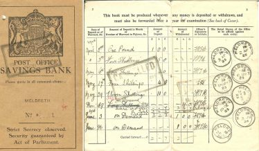 Post Office Savings Bank book No. 1 (Meldreth).  The first entry is for 2nd April 1925. | Supplied by Ann Handscombe