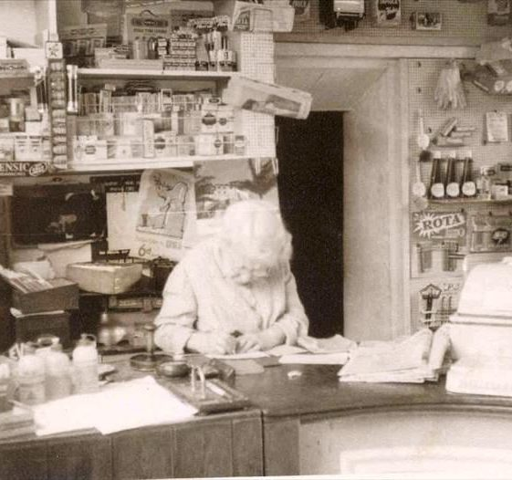 Mrs Handscombe in Post Office and shop, High Street, Meldreth. c.1956 | Photo supplied by John Gipson