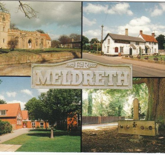 Postcard showing multiviews of Meldreth including Meldreth School and British Queen P.H. in the High Street.  1977 | Photo supplied by Kathryn Betts