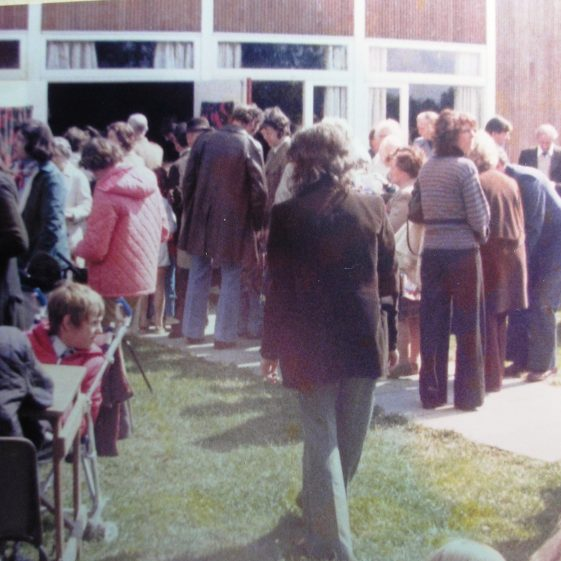 Queuing for tea at the village hall | W.I Scrapbook 1977