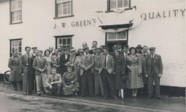 Regulars outside The Railway Tavern on Coronation Day 1953 Back Row; L-R Albrey Smith, Sid Smith, Gordon Childs, Dave Huggins, ?---, Lol Cooper, Peter Cooper, Ron Pepper, Derek Cooper, Jack Wing, ?---, Charles Calvert. Front Row;L-R John Pateman, Dennis Oakman, Neil Dash, Jim Catley, Flora Catley, Roy (Mel) Winter, Harry Waldock, Betty Cooper, Fred Waldock, Basil Dash, Reg Pluck, William Waldock, John Howell, Bert Waldock, Norman Clark, Doreen Waldock, Alex Miekle, Ann Cooper, Charlie Calvert, Fred Sims, Herbert Jacklin. Kneeling ; Albert Dash, Daisy Smith. | Peter Cooper