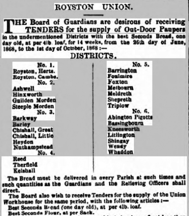 Advertisement in Cambridge Chronicle and Journal, 13th June 1868, inviting tenders for the supply of day-old bread for 'Out-Door Paupers' in Meldreth and elsewhere | britishnewspaperarchive.co.uk