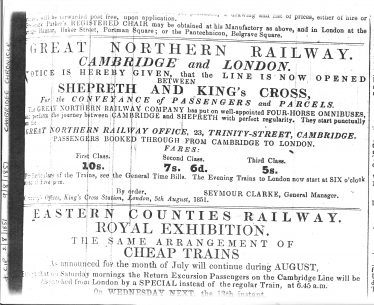 Advertisment for the opening of the railway line between Shepreth and Kings Cross.  Horse drawn omnibuses were required to complete the journey into Cambridge. | Cambridge Chronicle 2/8/1851