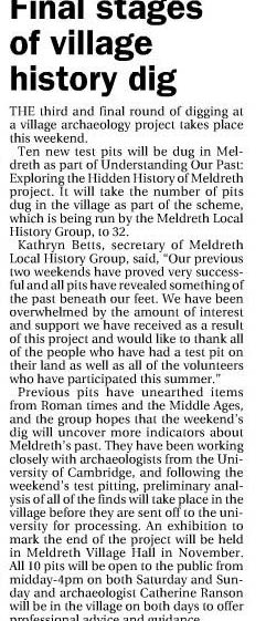 Article in the Royston Crow | 15th August 2013