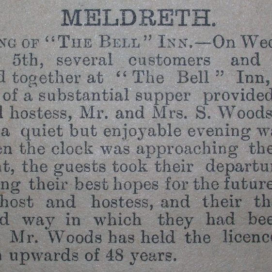 Closing of the Bell Public House   Royston Crow, 14th January 1910