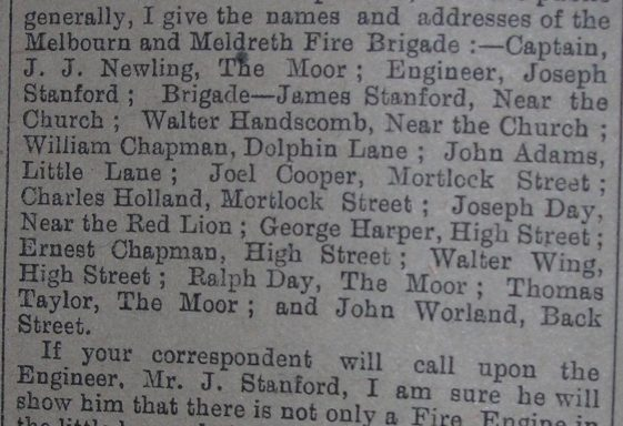 Newspaper Correspondence about the Melbourn and Meldreth Fire Brigade, 1910