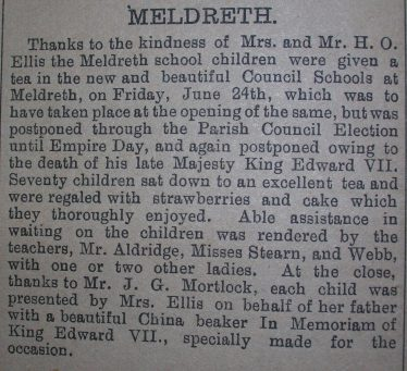 Tea to mark the opening of the school | From the Royston Crow, 8th July 1910