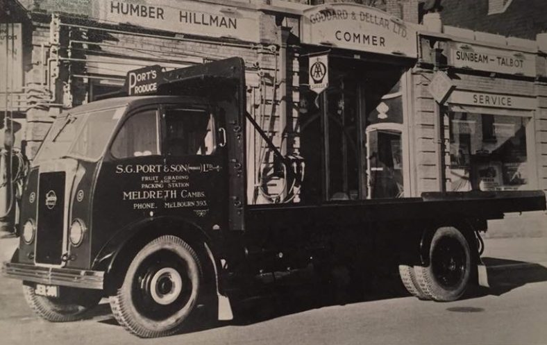 S G Port lorry filling up at Goddard and Deller's garage on Baldock Road, Royston.  S G Port and Son Ltd traded from the site later occupied by C Holland and Sons on Whitecroft Road, Meldreth.  Hollands was demolished in 2011 and replaced by Mary's Way, Meldreth. | Photograph from Royston Reporting Facebook Page