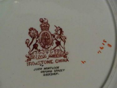 Mark of John Mortlock on the bottom of the Ashworth Mason Ironstone China plates | eBay Photograph
