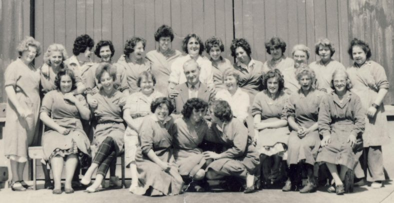 Standard & SMG Section (1962)<br> Back Row L to R: ___, ____, Valerie Cooper or Sue Butler, _____, _____, Bett May, Carol Mead, Joan Hayes, Pauline Hiscock, ______, Mrs Forest, Mrs Bradley, Margaret Waldock<br> Middle Row L to R: _____, _____, _____, Jack Miles, Pam Cooper, _____, ____, ____<br> Front Row L to R: Bett Day, ____, May Foggo | Maud Pethrick