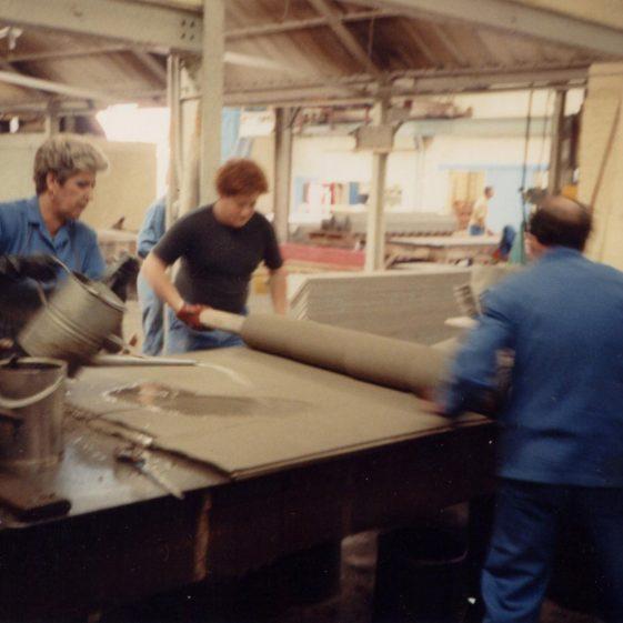 Step 8 Linda Pettit and Steve Manning Handmoulding the Wet Sheet | Photo courtesy of Linda Clarke