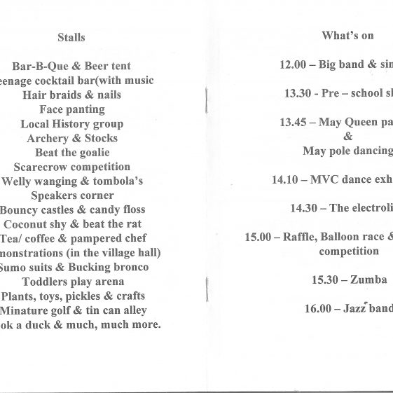 May Fayre Programme showing the list of stalls plus the day's schedule