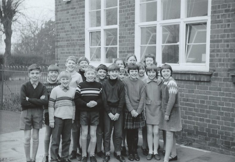 Pictured from left to right are: Trevor Hopkins, Kevin Thomas, Martin Winter, Roger Steadman, Jimmy Roberts, Peter Graver, Richard Harding, Glynn Howell, Francis May, Mary Sloper?, Portia Askew, Patricia Chinery, Valerie Cox, Julia Emery, Karen Rodgers, ?, Wendy Holden | Photograph supplied by Iris Howell