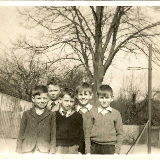 From left to right: John Smith, Trevor Pepper, Tony Andrews, Brian Clarke, Barry Clarke.  c. 1952 | Photograph courtesy of Brian Clarke