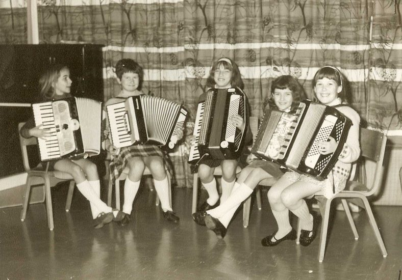 <b>The Rhythm Rascals, 1968</b><br> From left to right: Susan Haywood, Alison Chalkley, Janet Bidnell, Elaine Handscombe, Deborah Benefield | Photograph courtesy of Meldreth Primary School