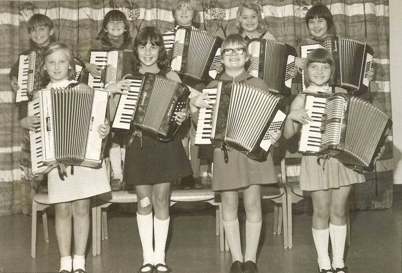 <b>The Rhythm Rascals, 1970</b><br> Back row, from left to right: Mark Clark, Jane Crowther, Hilary Gipson, Helen Burling, Elaine Brinkley<br> Front row, from left to right: Jennifer Saunders, Suzette Betteridge, Janet Newell, Pauline Mander | Photograph courtesy of Meldreth Primary School