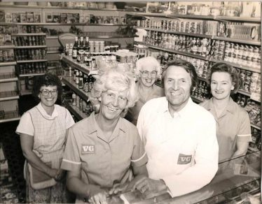 Mr and Mrs Hardwick and staff at the opening of VG Stores in 1975. Anne is on the right of the picture. | Photograph supplied by Ann Handscombe