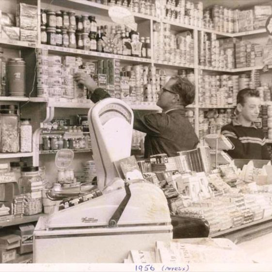 Gordon Handscombe and John Smith in Post Office and shop, High Street, Meldreth. c.1956 | Photo supplied by John Gipson