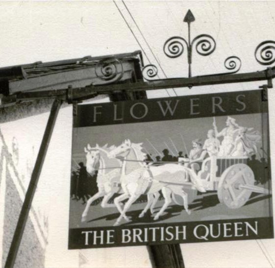 Inn sign of the British Queen P.H., High Street, Meldreth.  c. 1960 | Photo supplied by Sylvia Gipson