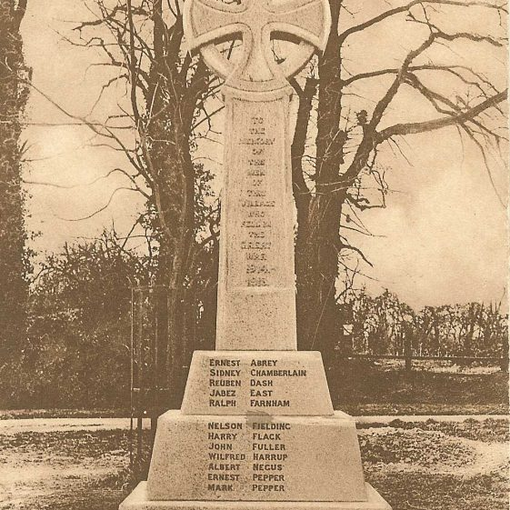 Meldreth War Memorial, showing the names of those who died in the First World War | Postcard supplied by Joan Gane