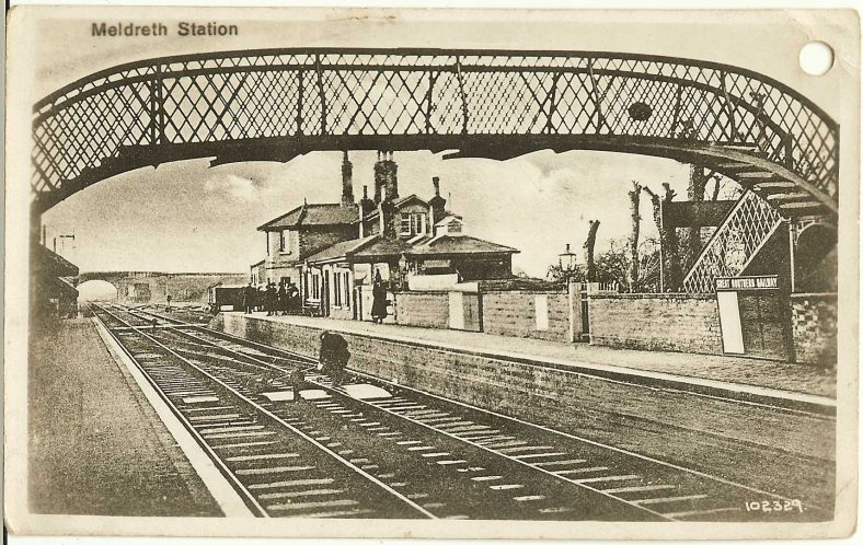 <b>Station Road: Meldreth Station</b> | Bell's Postcard, 1920s
