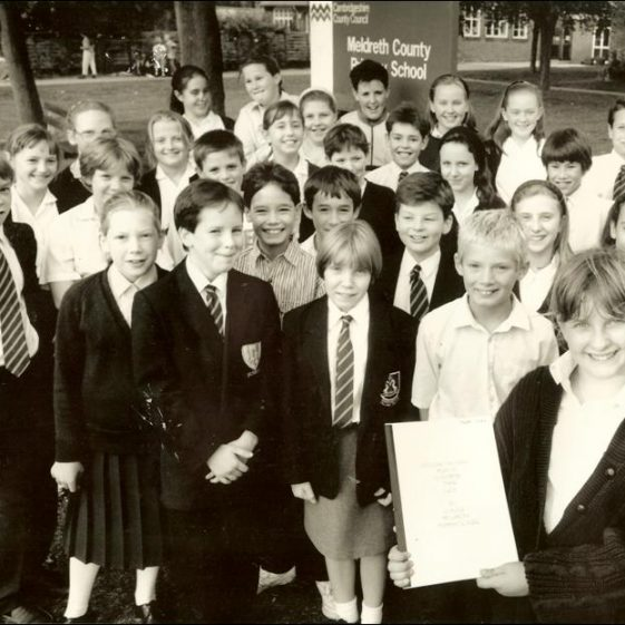 Children from class 6, with their winning entry | Photograph courtesy of Meldreth Primary School