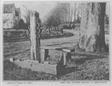 The remains of the stocks and whipping post, 1903 or earlier | Robert H Clark Postcard