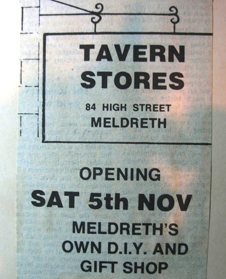 Advert for opening of Tavern Stores (no longer trading) | Meldreth W.I.