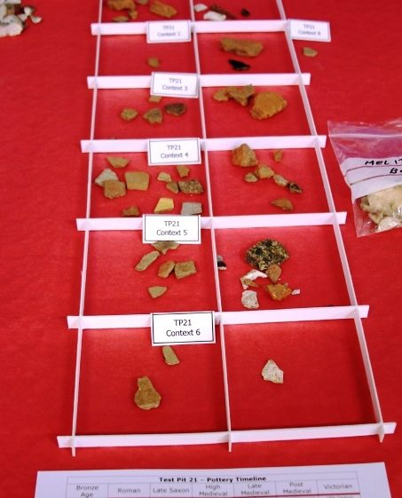 Display of finds at Test Pit Exhibition on 24/11/2013   Photo by Malcolm Woods