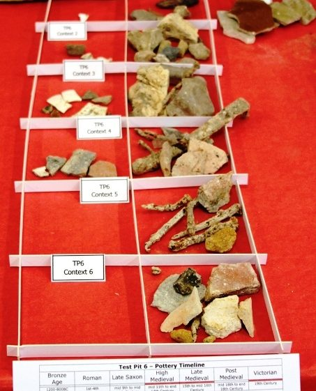 Display of finds at Test Pit Exhibition on 24/11/2013 | Photo by Malcolm Woods