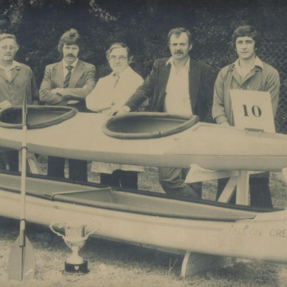 Eternit Concrete Canoe Society<br> pictured at Thorpe Park late 1980s.  L to R:  George Payne, Robert Henry, Peter Baker, George Joyce, Les Thurley.<br> The canoes are made of concrete reinforced fibre. | Robert Henry