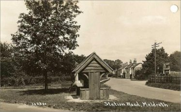 Looking towards The Railway Tavern from the War Memorial ~1930 | Bells Postcard