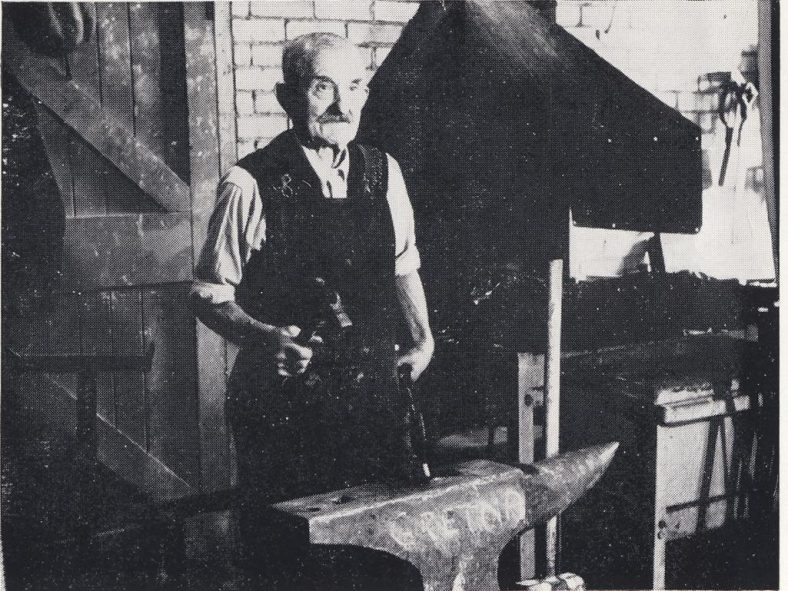 Tom Smith - Blacksmith<br> Tom Smith is pictured here in 1954 when he was 83 years of age. Tom, actual name Robert Albert Smith, was born in 1872. He cycled from Royston to the Atlas every day for 23 years to work from 8.30am until 5.30pm in the blacksmith's shop.  Tom was very proud of his wife Edith and their family of six boys, four girls and twenty grand-children.  One of his sons, Sid Smith, was also employed at the Atlas.  Tom died in March 1957 aged 85. | Atlas Magazine