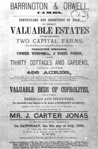 Advert for land with coprolite beds