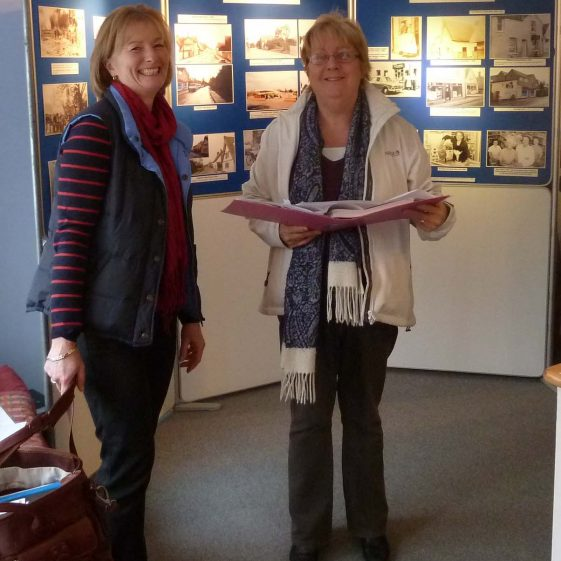 Kathryn Betts (left) and Joan Gane at the Tavern Gallery exhibition | Photograph by Tim Gane