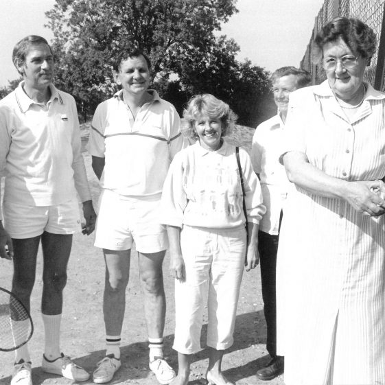 The opening of the second court, September 1986.  Pictured, from left to right: Gwen Clayton, John Rogger, Rob Searles, Ann Thomas, Robert Elbourn and Mary Course | Royston Crow photograph from the Royston Museum archive