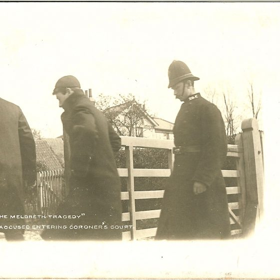 Frank Rodgers entering the Coroner's Court | Postcard supplied by Brian Clarke