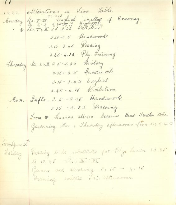 The school's timetable, 1922 | Photograph courtesy of Meldreth Primary School