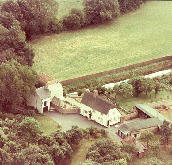 Aerial view of Topcliffe Mill, prior to enlargement of the house and rebuilding of the stable block, c. 1970 | Photograph supplied by Kathryn Betts