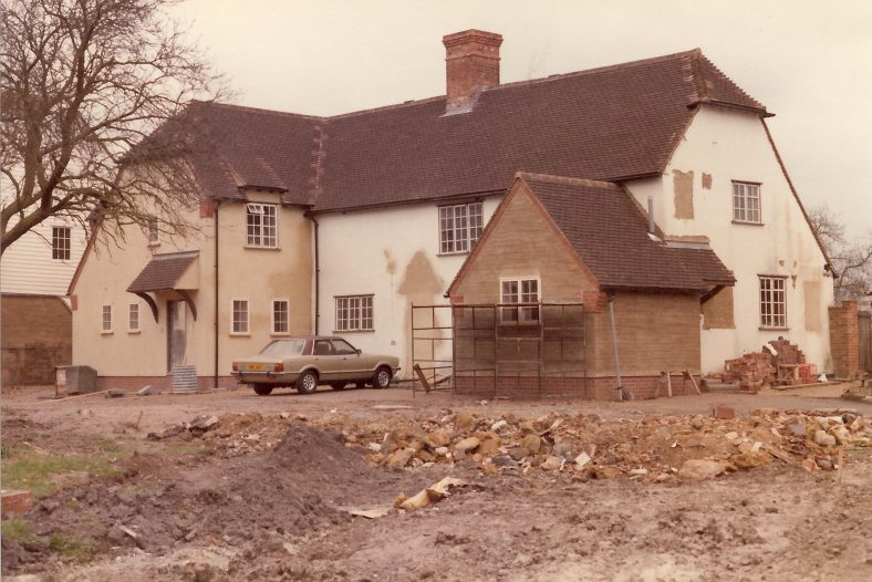 The house during extensions and building work, March 1984<br. Note the porch has been removed and the original front door blocked up | Photograph by Andrew Emerson