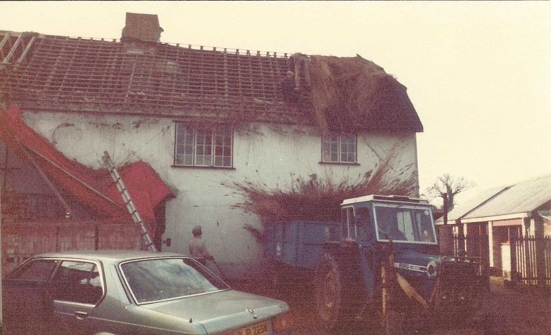 Removal of the thatch, December 1983 | Photograph by Andrew Emerson